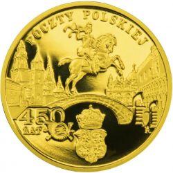 200zł 450 lat Poczty Polskiej 2008 15,50 g Au 900