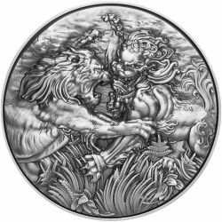 10$ African Lion vs Chinese Guardian Lion 2 oz Ag 999 2022 Tokelau