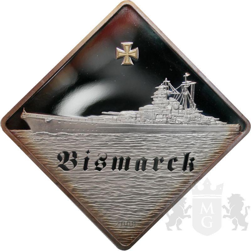 10$ Bismarck Battleship 2 oz Ag 999 2009