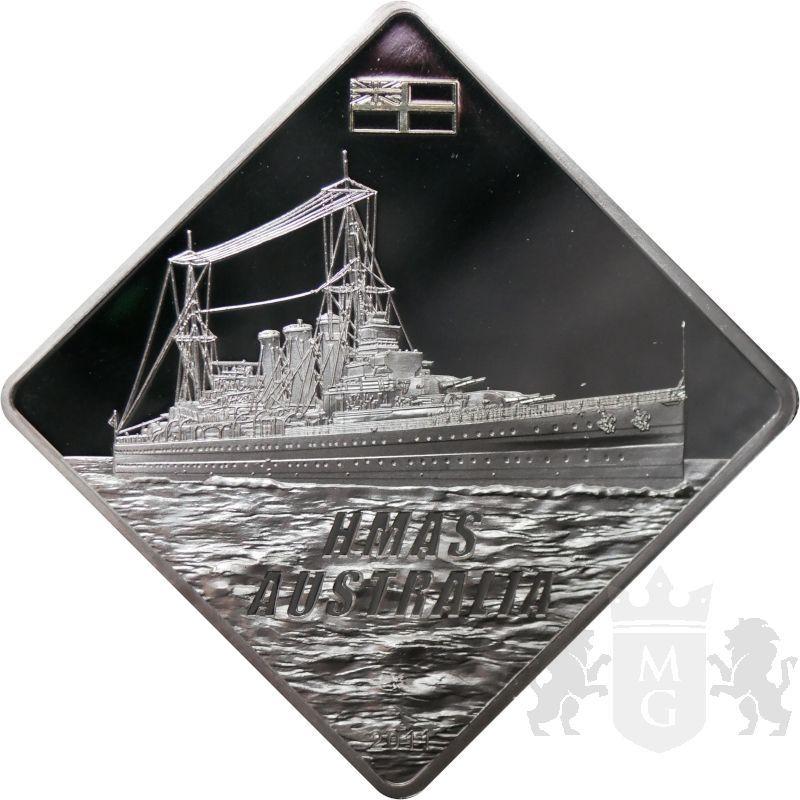10$ HMS Australia Battleship 2 oz Ag 999 2011