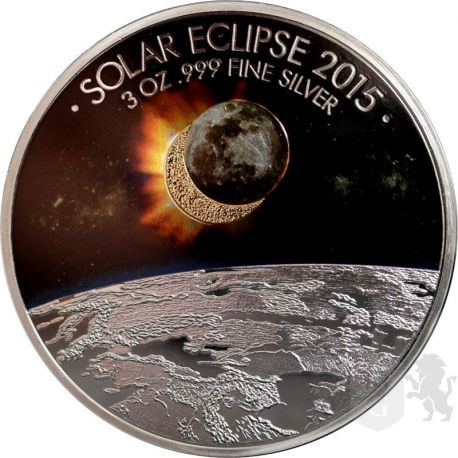 1500 Francs Solar Eclipse 3 oz Ag 999 2015 Burkina Faso