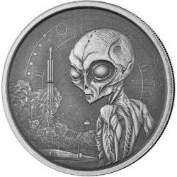 5$ Alien Antique Finish 1 oz Ag 999 2021 Ghana