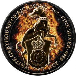 5£ Płonący Chart z Richmond - Bestie Królowej 2 oz Ag 999 Ruten 2021 Wielka Brytania