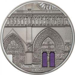 25$ Notre Dame Paryż, Black Proof - Tiffany Art Metropolis 5 oz Ag 999 Szkło 2021 Palau