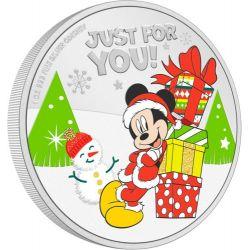 2$ Mickey Mouse, Season's Greetings - Disney 1 oz Ag 999 2021 Niue