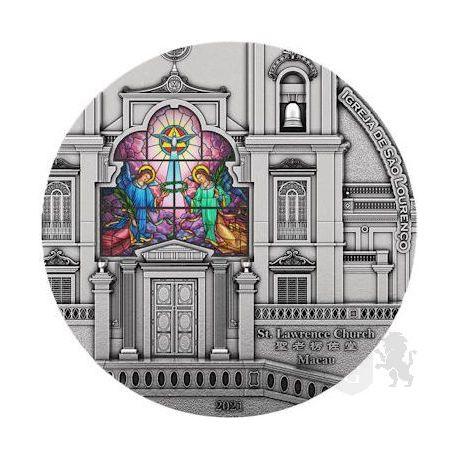 8$ St. Lawrence Church, Heaven Window of Light 3 oz Ag 999 2021 Solomon Island