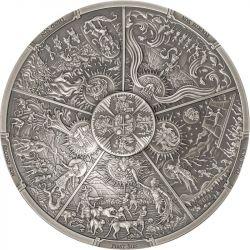 20$ Pięc Azteckich Słońc - Epoki Człowieka 3 oz Ag 999 2021 Palau