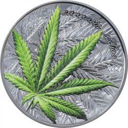 1000 Francs Cannabis Sativa Black Proof 1 oz Ag 999 2021 Benin