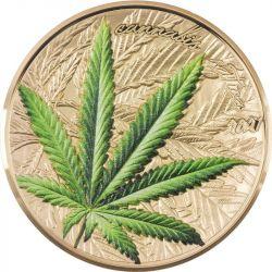1000 Francs Cannabis Sativa Gold Plated 1 oz Ag 999 2021 Benin