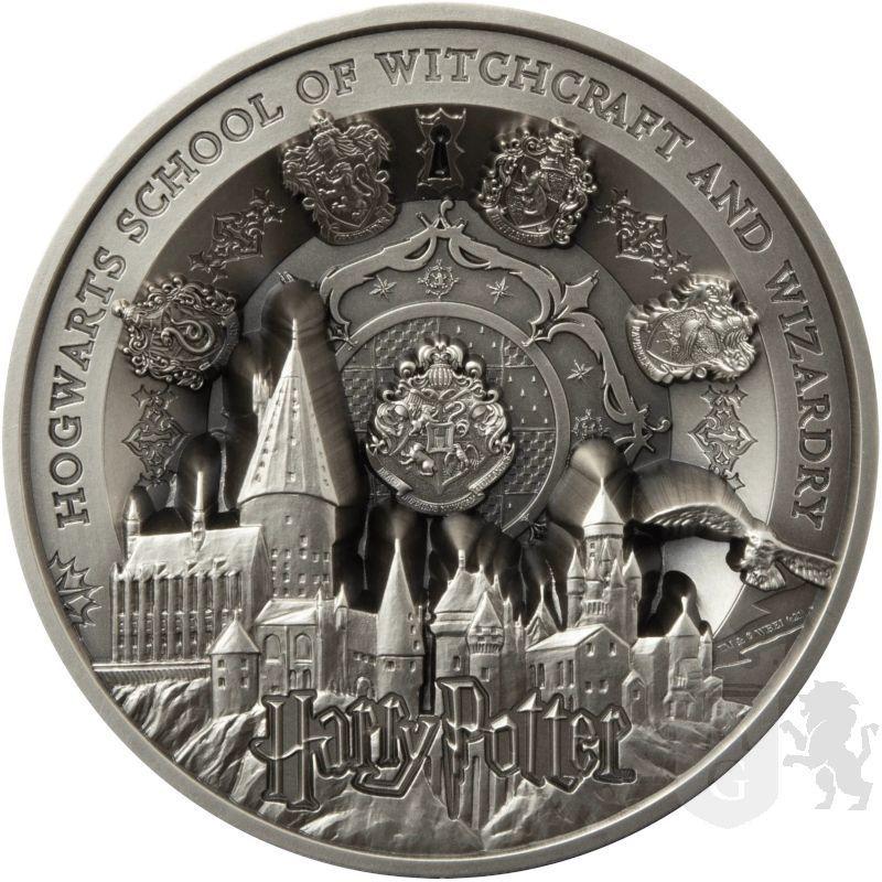 50$ Zamek Hogwart - Harry Potter 1 kg Ag 999 2021 Samoa