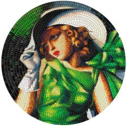 20$ Young Girl in Green, Tamara Lempicka - Great Micromosaic Passion 3 oz Ag 999 Palau 2021