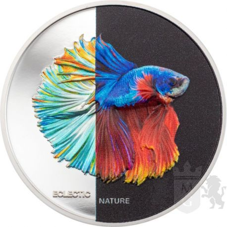 5$ Fighting Fish - Eclectic Nature 1 oz Ag 999 2021 Cook Island