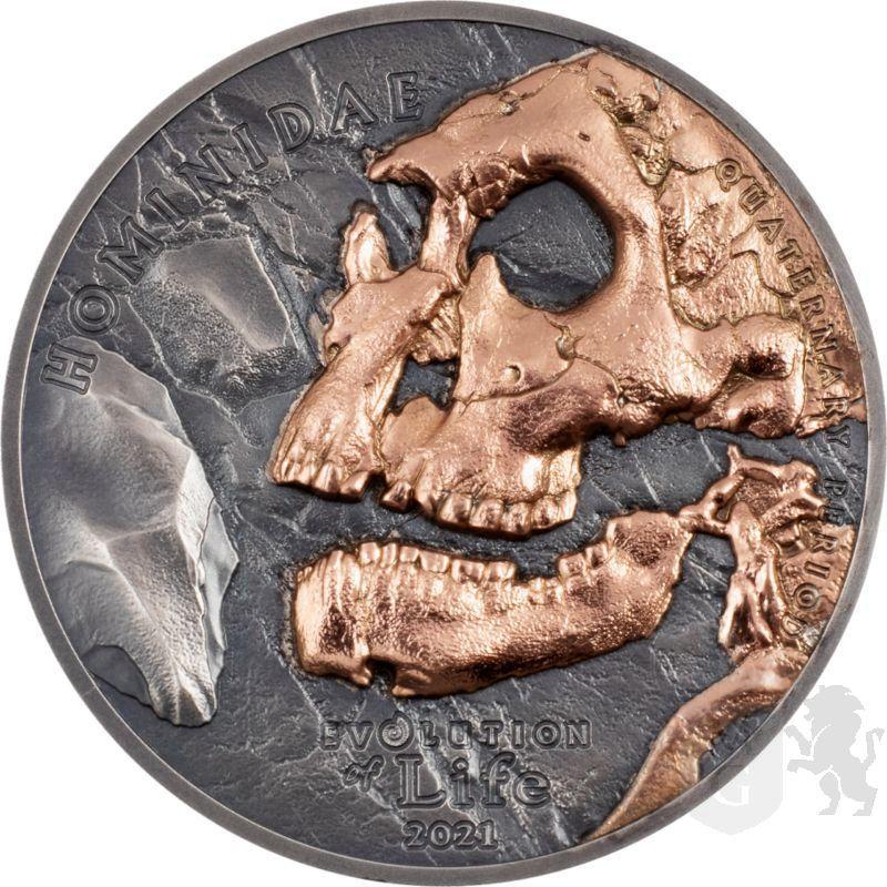 500 Togrog Hominidae - Evolution of Life 1 oz Ag 999 2021 Mongolia