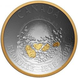 25$ Panning For Gold 125th Anniversary of the Klondike Gold Rush 1 oz Ag 999 2021 Canada