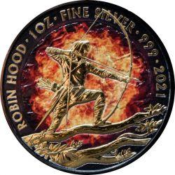 2£ Płonący Robin Hood - Płonące Mity i Legendy 1 oz Ag 999 2021 Wielka Brytania