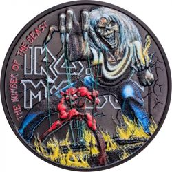 5$ Iron Maiden , The Number Of The Beast 1 oz Ag 999 2022 Wyspy Cooka