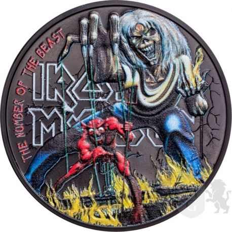 5$ Iron Maiden , The Number Of The Beast 1 oz Ag 999 2022 Cook Islands