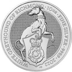 10£ The White Greyhound of Richmond - Queen's Beasts 10 oz Ag 999 2022
