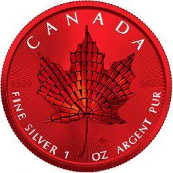 5$ Maple Leaf - Mosaic Space Red 1 oz Ag 999 2021 Canada