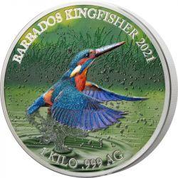 25$ Kingfisher - Colourful Wildlife 1 kg Ag 999 2021 Barbados