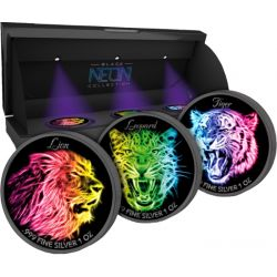 5$ Lion, Leopard, Tiger - Black Neon Collection set