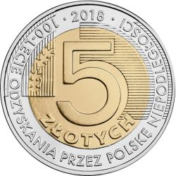 5zł 100th Anniversary of Regaining Independence by Poland