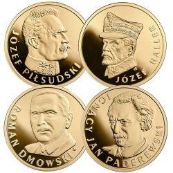 100 zł Piłsudski, Haller, Dmowski, Paderewski Zestaw Au 900