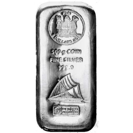 5$ Sztabka Srebra 500 g Fiji 2015