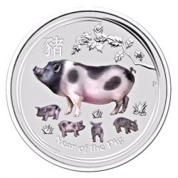 1$ Rok Świni 1 oz Ag 999 Kolor BU