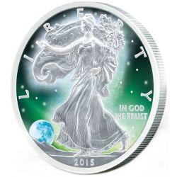 1$ Frozen Walking Liberty Aurora Rhodium