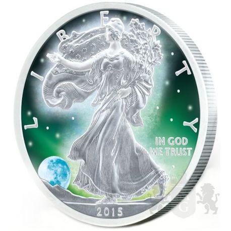 1$ Frozen Walking Liberty Aurora Rhodium