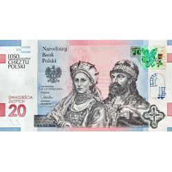 20 zł Chrzest Polski - 1050. Rocznica Chrztu Polski Mieszko I i Dobrawa