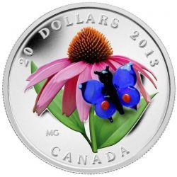 20$ Motyl, Jeżówka Purpurowa - Szkło Weneckie