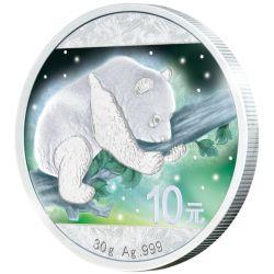 10 Yuan Frozen Chinese Panda Aurora Rhodium