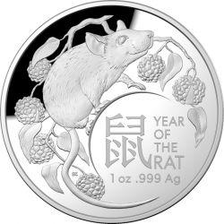 5$ Rok Szczura, Rok Myszy 1 oz Proof RAMint Soczewka