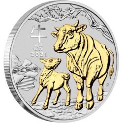 2$ Year of the Ox Gilded Coin