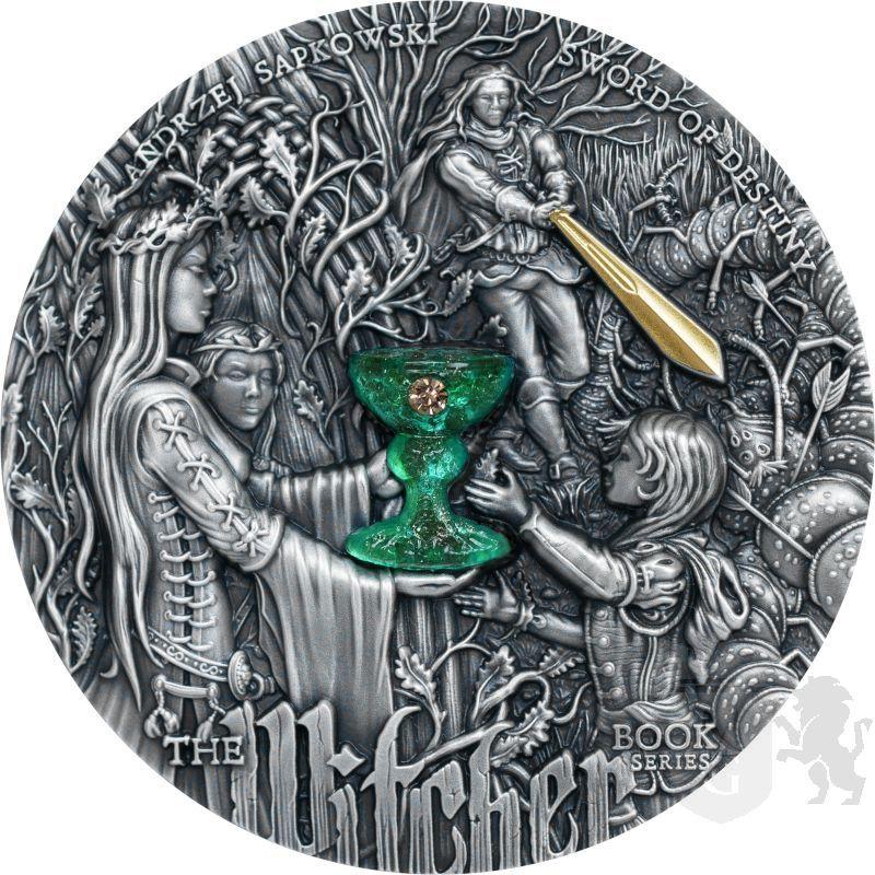 5$ Miecz Przeznaczenia - Wiedźmin 2 oz Ag 999 Szkło Wielowarstwowe 3D