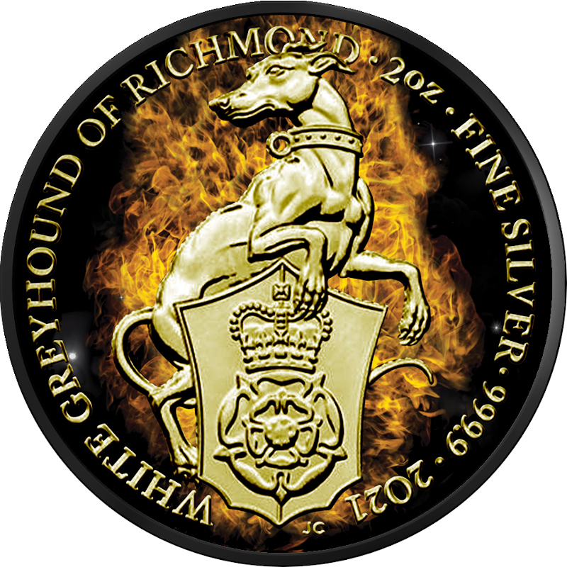 5£ Burning Greyhound of Richmond - Queen's Beasts 2 oz Ag 999 Ruthenium 2021 Great Britain