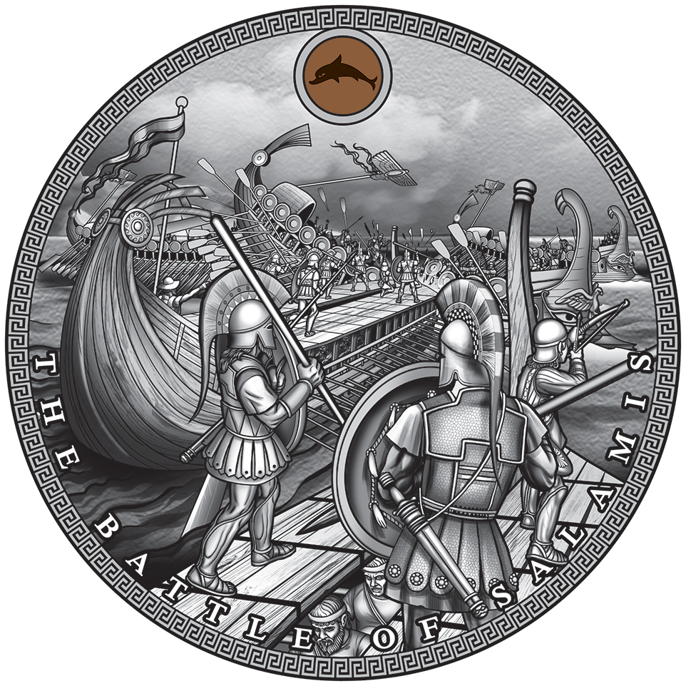 The Battle of Salamin - Sea Battles, collector coin of the Mint of Gdansk