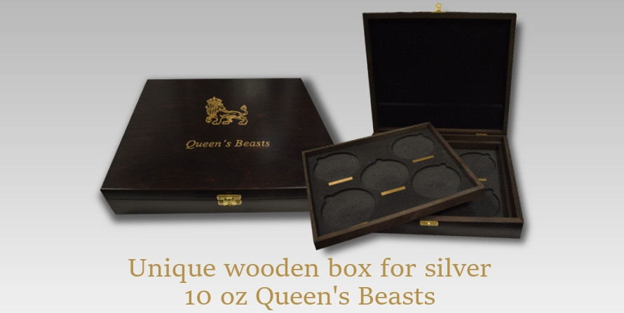 Wooden Box for 10 oz silver Queen's Beasts series
