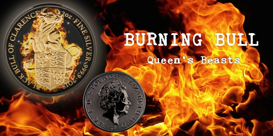 5£ Burning Bull - Queen's Beasts