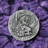 """ENG BELOW 👇🏻  Kolejna przepiękna moneta w naszych zbiorach!❤️  """"Smok Aztecki"""" został wykonany z największą dbałością o szczegóły. Dodatkowo, posiada wspaniały dodatek w postaci ametystu imitującego oko smoka.   Taka moneta warta jest każdych pieniędzy! 💰  🇬🇧  Another beautiful coin in our collection!❤️  """"Aztec Dragon"""" was made with the utmost attention to detail. In addition, it has a wonderful addition in the form of an amethyst imitating the eye of the dragon.  This coin is worth any money! 💰  #mennicagdanska #coin #numismatic  #numizmatyka #investing #investment #investmentcoins #silvercoin #silver #srebro #dragon #aztecdragon #mexicoart #amethyst #mythical #artwork #sztuka"""